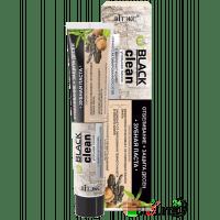 BLACK CLEAN - Зубная паста ОТБЕЛИВАНИЕ + ЗАЩИТА ДЁСЕН с микрочастицами черного активированного угля и корой дуба