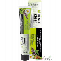 Зубные пасты BLACK CLEAN - Зубная паста ОТБЕЛИВАНИЕ + КОМПЛЕКСНАЯ ЗАЩИТА с микрочастицами черного активированного угля и лечебными травами