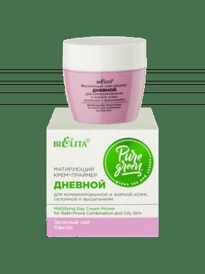 PURE GREEN - Матирующий крем-праймер дневной для комбинированной и жирной кожи склонной к высыпаниям